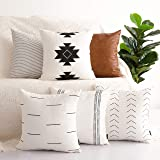 HOMFINER Decorative Throw Pillow Covers for Couch, Set of 6, 100% Cotton Modern Design Stripes Geometric Bed or Sofa Pillows