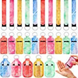 30 Pieces Marble Travel Bottle Keychain Holder Marble Chapstick Holder Reusable Bottle Containers Set with Wristlet Keychain