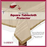 "LAMINET Heavy-Duty Deluxe Crystal Clear Vinyl Tablecloth Protector 54"" Square"