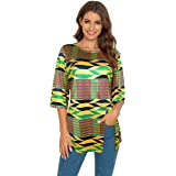 Afibi Womens Print Shirt African Dashiki 3/4 Sleeve Boho Loose Tunic Tops