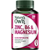 Nature's Own Zinc, B6 and Magnesium - Relieves PMT Symptoms - Maintains Healthy Skin - Supports Energy Levels, 200 Tablets