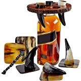 Viking Culture Viking Horn Drinking Cup Shot Glasses with Vintage Axe Bottle Opener, Coasters, and Rustic Wood Display Stand,