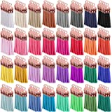 SIQUK 160 Pieces Keychain Tassels Leather Tassel Bulk for DIY Keychain and Craft (Rose Gold Cap)