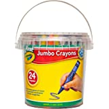 Crayola My First Jumbo Crayons, 24 pack with storage tub, 2 years +, Designed for little hands, Creative Play, Perfect for Ju