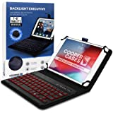 Cooper Backlight Executive Keyboard Case for 7-8 Inch Tablets | Universal Fit | 2-in-1 Bluetooth Keyboard & Leather Folio, 7