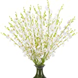 Artificial White Flowers Dancing Lady Butterfly Long Stem Fake Orchids 5 Pcs Silk Fake Flower Arrangements Faux Real Touch fo