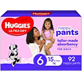 Huggies Ultra Dry Nappy Pants, Girl, Size 6 (15+kg) 92 Count, Packaging May Vary, Size, Pack of 2 x 46