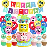スポンジボブ 誕生日 飾り付け パーティー セット キャラクター イエロー 可愛い 3 カラフル 子供 男の子 女の子 ケーキトッパー バルーン 風船 レッド happy birthday バナー ガーランド 28枚セット (スポンジボブ3)