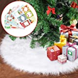 Joyjoz Christmas Tree Skirt, Small/Large White Christmas Tree Skirt (30 Inch) with 48 PCS Stickers,Luxury Faux Fur for Christ