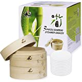 Yuho Asian Kitchen Bamboo Steamer 6–Inch, Individually Box, 2 Tiers & Lid, 10 Parchment Liners, Perfect For Steaming Dumpling