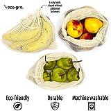 Eco Gro. - Reusable Cotton Mesh Produce Bags - Organic Cotton, Durable, Double Stitched, Washable | 7 PCE Set | Australian Ow
