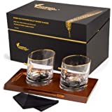 Designed in Australia - Double Old Fashioned Bullet Whiskey Glasses - 30 Calibre - 12oz Set of 2 - Hand Blown Lead Free Cryst