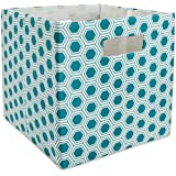 DII Hard Sided Collapsible Fabric Storage Container for Nursery, Offices, & Home Organization, (13x13x13) - Honeycomb Teal