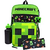 Minecraft Creeper TNT 5 Piece Backpack Set Lunch Box Pencil Case Bottle Squishy