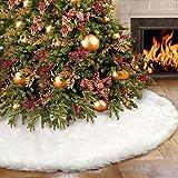 GENNISSY 60inch 1.68LB Christmas Tree Skirt Snowy White Plush Velvet - Holiday Party DecorationSnowy White Plush Velvet - Hol