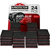 "NON SLIP FURNITURE PADS X-PROTECTOR ? PREMIUM 24 pcs 1 1/2"" Furniture Pad! Best Furniture Grippers - Rubber Feet - Furniture"