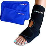Foot & Ankle Pain Relief Ice Wrap with 2 Hot / Cold Gel Packs by TheraPAQ | Best for Achilles Tendon Injuries Plantar Fasciit
