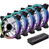 EZDIY-FAB 5-Pack 120mm Dual Frame RGB PWM Fans for PC Case,Addressable RGB Case Fan with Fan Hubs,5V ARGB 3-pin Motherboard S