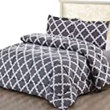 (Queen, Grey) - Printed Comforter Set (Grey, Queen) with 2 Pillow Shams - Luxurious Soft Brushed Microfiber - Goose Down Alte