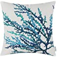 CaliTime Canvas Throw Pillow Cover Shell for Couch Sofa Home Decoration Aquarelle Painting Print 18 X 18 Inches Sea Coral Tre