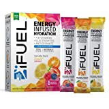 iFUEL Energy Infused Hydration Electrolyte Powder (15 Count- Variety Pack) with B12 Vitamins, Natural Caffeine, Antioxidants