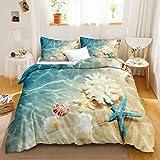 Ocean Duvet Cover Set Blue Beach Bedding Coastal Nature Theme Pattern Boys Girls Bedding Sets Queen 1 Duvet Cover 2 Pillowcas