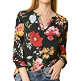 Allegra K Women's Stand Collar V Neck Long Sleeve Floral Print Blouse
