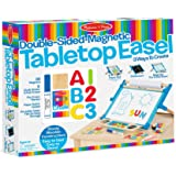 Melissa & Doug 2790 Double-Sided Magnetic Tabletop Art Easel - Dry-Erase Board and Chalkboard