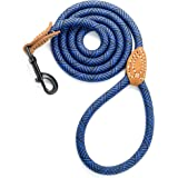 Mile High Life Leather Tailor Handle Mountain Climbing Dog Rope Leash with Heavy Duty Metal Sturdy Clasp (Blue, 6 FT)