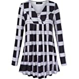 AMZ PLUS Women's Plus Size Flowy Tops V-Neck Loose Blouse Casual Tunic Shirt