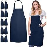 GREEN LIFESTYLE 12 Pack Bib Apron - Unisex Black Apron Bulk Machine Washable for Kitchen Crafting BBQ Drawing Outdoors (Navy