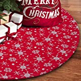 S-DEAL 48 Inches Christmas Tree Skirt Double Layers White Snow Carpet for Party Holiday Decorations Xmas Ornaments 32 in Red