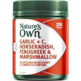 Nature's Own Garlic + C, Horseradish, Fenugreek and Marshmallow - Relieves Duration of Common Cold Symptoms, 200 Tablets