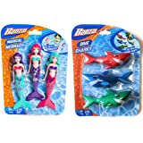 Banzai 3 Piece Magical Mermaid Dolls and 3 Piece Dive Sharks Pool Toys Bundle Set of Pool Toys