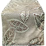 Dining Table Runner Rustic Leaf Classic Design - Christmas Decoration, Fall Thanksgiving Holiday Dinner / Fancy Party Burgund