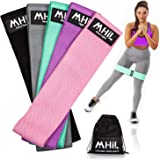 MhIL 5 Resistance Bands - Best Exercise Bands for Women and Men - Thick Elastic Fabric Workout Bands for Working Out Legs, Bu