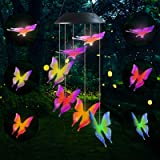 Famiry Solar Butterfly Wind Chimes for Outside, Wind Chimes Colors Changing Six Butterfly Waterproof LED Solar Light, Outdoor