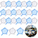 24 Pieces Silicone Stretch Lids Round Elastic Container Lids Blue White Stretch Lids Durable Food Storage Covers for Cups Sma