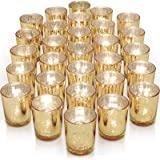 Letine Glass Votive Candle Holders Set of 36 - Speckled Mercury Gold Tealight Candle Holder Bulk - Ideal for Wedding Centerpi