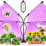 BRITOR Grow Lights for Indoor Plants,4 Head Plant Lights with 80 LED,Auto ON/Off 4/8/12H Timer, 9 Dimmable Level,3 Light Mode