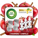 Air Wick Plug in Scented Oil Starter Kit, 2 Warmers + 6 Refills, Apple Cinnamon, Fall scent, Fall spray, Eco Friendly, Essent