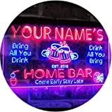 Personalized Your Name Custom Home Bar Beer Established Year Dual Color LED Neon Sign Blue & Red 400 x 300 mm st6s43-p1-tm-br