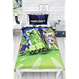 Minecraft Creeps Single Duvet Cover Officially Licensed Reversible Two Sided Creeper Design with Matching Pillowcase, Polycot