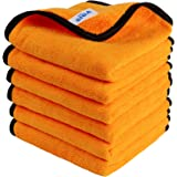 MR.SIGA Professional Premium Microfiber Towels for Household Cleaning, Dual-Sided Car Washing and Detailing Towels, Gold, 15.