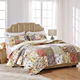 Greenland Home GL-0809CMSQ Blooming Prairie 100% Cotton Authentic Patchwork Quilt Set, 3-Piece Full/Queen
