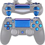 eXtremeRate D-pad R1 L1 R2 L2 Trigger Touchpad Action Home Share Options Buttons, Chameleon Purple Blue Full Set Buttons Repa