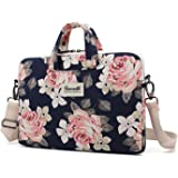 Canvaslife White Rose Patten Canvas Laptop Shoulder Messenger Bag Case Sleeve for 11 Inch 12 Inch 13 Inch Laptop and Macbook