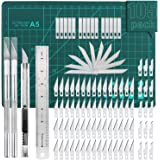 105 PCS Precision Carving Craft Hobby Knife Kit Includes 92 PCS Carving Blades with 2 Handles, 11 PCS SK5 Art Blades with 1 H