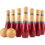Lawn Bowling Game/Skittle Ball- Indoor and Outdoor Fun for Toddlers, Kids, Adults -10 Wooden Pins, 2 Balls, and Mesh Bag Set