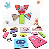 Butterfly EduFields 2 in 1 Mix & Match Magnetic Puzzles for Kids 3+ year old | Fun Shapes & Emoticons 100+ Play Challenges |